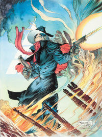Michael William Kaluta The Shadow -- Ablaze Signed Limited-Edition Lithograph #1,428/2,500 (First Team Press, 1987