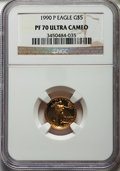 Modern Bullion Coins, 1990 $5 Four-Piece Gold Eagle Proof Set, PR70 Ultra Cameo NGC.... (Total: 4 coins)