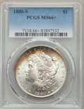 Morgan Dollars: , 1880-S $1 MS66+ PCGS. PCGS Population: (10971/2483 and 457/299+). NGC Census: (11646/3511 and 316/113+). MS66. Mintage 8,90...