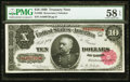 Fr. 368 $10 1890 Treasury Note PMG Choice About Unc 58 EPQ