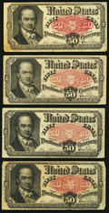 Fractional Currency:Fifth Issue, Fr. 1381 50¢ Fifth Issue Four Examples Fine or Better.. ... (Total:4 notes)