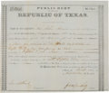 Miscellaneous, [Woll Expedition]. Public Debt Certificate Signed ...