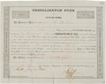 Miscellaneous, [Republic of Texas]. Consolidated Fund of Texas $1000 BondCertificate....
