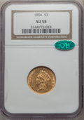 Three Dollar Gold Pieces, 1856 $3 AU58 NGC. CAC....