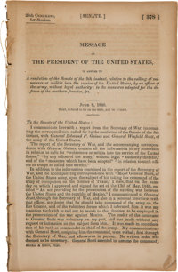 [James K. Polk]. Twenty-Ninth Congress, First Session No. 378. Senate. Message of the President of the United S