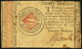 Colonial Notes:Continental Congress Issues, Continental Currency January 14, 1779 $20 Very Fine-ExtremelyFine.. ...