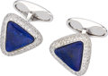 Estate Jewelry:Cufflinks, Lapis Lazuli, Diamond, White Gold Cuff Links, Eli Frei . ...