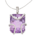 Estate Jewelry:Pendants and Lockets, Amethyst, Diamond, White Gold Pendant-Necklace, Eli Frei. ...