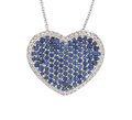 Estate Jewelry:Necklaces, Sapphire, Diamond, White Gold Necklace, Assil. ...
