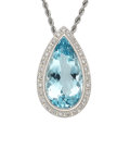 Estate Jewelry:Pendants and Lockets, Aquamarine, Diamond, Platinum Pendant-Necklace . ...