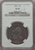 Early Half Dollars: , 1806 50C Pointed 6, Stem, VF20 NGC. NGC Census: (59/685). PCGSPopulation: (107/868). VF20. Mintage 839,576. ...