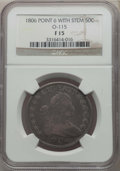 Early Half Dollars, 1806 50C Pointed 6, Stem, O-115, T-17, R.1, Fine 15 NGC. NGCCensus: (3/29). PCGS Population: (1/13). ...