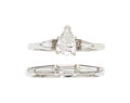 Estate Jewelry:Rings, Diamond, Platinum, White Gold Ring Set . ... (Total: 2 Items)