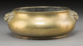Asian:Chinese, A Chinese Bronze Censer with Beast Mask Handles, Qing Dynasty, 19thcentury. Marks: Sixteen-character Xuande mark and of a l...