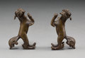 Asian:Chinese, A Pair of Chinese Bronze Beast-Form Scroll Weights, Qing Dynasty.1-1/2 h x 2-3/8 w x 1 d inches (3.8 x 6.0 x 2.5 cm) (each)...(Total: 2 Items)