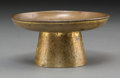 Asian:Chinese, A Fine Chinese Gilt Bronze Offering Dish, early Qing Dynasty, 17thcentury or earlier. 2 inches high x 4-1/8 inches diameter...