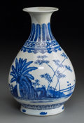 Asian:Chinese, A Chinese Blue and White Porcelain Pear-Shaped Yuhuchunping Vase,Qing Dynasty, Guangxu Period, circa 1875-1908. Marks: Six-...