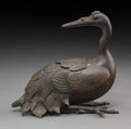 Asian:Chinese, A Chinese Crane-Form Bronze Censer. 5-3/4 h x 6-1/8 w x 3 d inches(14.6 x 15.6 x 7.6 cm). ...
