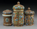 Asian:Chinese, Three Chinese Gilt Silver, Enamel, Jade, and Cabochon-Mounted TeaCaddies. Marks: SILVER. 7-1/4 inches high (18.4 cm). ...(Total: 3 Items)