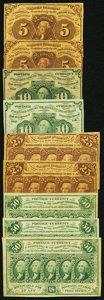 Fractional Currency:First Issue, First Issue Fractionals with Straight Edges and ABC Monograms Nine Examples.. ... (Total: 9 notes)