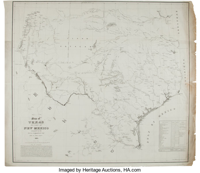 United States Bureau of Topographical Engineers. Map of Texas and ...