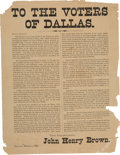"Miscellaneous:Broadside, John Henry Brown 1887 Election Broadside, ""To the Voters of Dallas.""..."