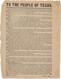 "Miscellaneous:Broadside, Andrew Neill 1855 Broadside, ""To The People of Texas.""..."