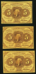 Fractional Currency:First Issue, Fr. 1230 5¢ First Issue Three Examples Extremely Fine-About New.. ... (Total: 3 notes)