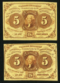 Fractional Currency:First Issue, Fr. 1231 5¢ First Issue Two Examples Extremely Fine-About New.. ... (Total: 2 notes)
