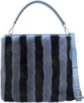 "Luxury Accessories:Accessories, Fendi Light Blue Pequin Striped Mink Fur and Calfskin Small AnnaBucket Bag. Category: 1. 13"" Width x 10"" Heig..."