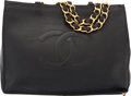 """Luxury Accessories:Bags, Chanel Black Lambskin Leather Chunky Chain Shopping Tote Bag.Condition: 4. 16.25"""" Width x 12"""" Height x 4"""" Depth. ..."""