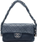 Luxury Accessories:Bags, Chanel Blue Distressed Calfskin Leather Lady Braid Flap Ba...