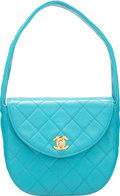 Luxury Accessories:Bags, Chanel Turquoise Lambskin Leather Small Half Moon Flap Bag...
