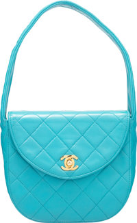 "Chanel Turquoise Lambskin Leather Small Half Moon Flap Bag Condition: 4 6.5"" Width x 5.75"" Height x 2.75""..."