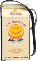 "Luxury Accessories:Bags, Moschino Yellow & Navy Patent Leather Orange Juice Carton Bag.Condition: 2. 4"" Width x 9"" Height x 4"" Depth. ..."