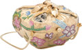 """Luxury Accessories:Bags, Judith Leiber Floral Beaded Gold Coin Box Minaudiere Evening Bag.Condition: 4. 4"""" Width x 4"""" Height x 3"""" Dept..."""