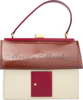 "Luxury Accessories:Bags, Moschino Brown, Cream & Red Patent Leather ""Maison Moschin..."