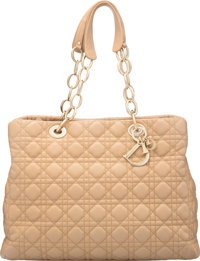 "Christian Dior Beige Lambskin Leather Cannage Soft Tote Bag Condition: 3 14"" Width x 12"" Height x 5.5"" De..."