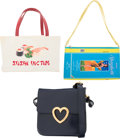 Luxury Accessories:Bags, Moschino Set of Three; Navy Blue Patent Leather, Beige Pri...