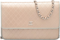 """Chanel Metallic Gold Embossed Leather Wallet on Chain Bag Condition: 3 7.75"""" Width x 5"""" Height x 1.5"""" Dep..."""