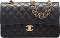 "Luxury Accessories:Bags, Chanel Black Lambskin Leather Medium Double Flap Bag with GoldHardware. Condition: 3. 10"" Width x 6"" Height x 2.5""Depth..."