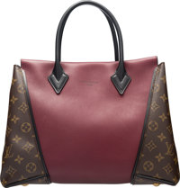 """Louis Vuitton Monogram Canvas and Burgundy Leather W Tote PM Bag Condition: 3 13"""" Width x 10"""" Height x 5""""..."""