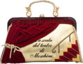 """Luxury Accessories:Bags, Moschino Red Patent Leather & Velvet """"La Scala del Teatro"""" Bag. Condition: 2. 12"""" Width x 8"""" Height x 4"""" Depth. ..."""