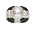 Estate Jewelry:Rings, South Sea Cultured Pearl, Diamond, Onyx, Gold Ring. ...