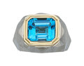 Estate Jewelry:Rings, Blue Topaz, Gold, Steel Ring, Carvin French. ...