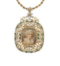 Estate Jewelry:Pendants and Lockets, Painted Portrait, Diamond, Glass, Gold Pendant-Necklace . ...