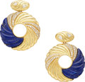 Estate Jewelry:Earrings, Diamond, Lapis Lazuli, Gold Earrings. ...