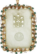 Estate Jewelry:Pendants and Lockets, Nephrite Jade, Emerald, Diamond, Gold Pendant. ...