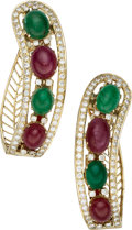 Estate Jewelry:Earrings, Diamond, Ruby, Emerald, Gold Earrings. ...