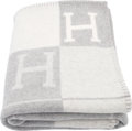 "Luxury Accessories:Home, Hermes Ecru & Gris Clair Wool and Cashmere Avalon Blanket.Condition: 1. 53"" Width x 67"" Length..."